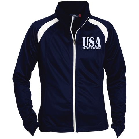 USA. Proud Patriot. Women's: Sport-Tek Ladies' Raglan Sleeve Warmup Jacket. (Embroidered)