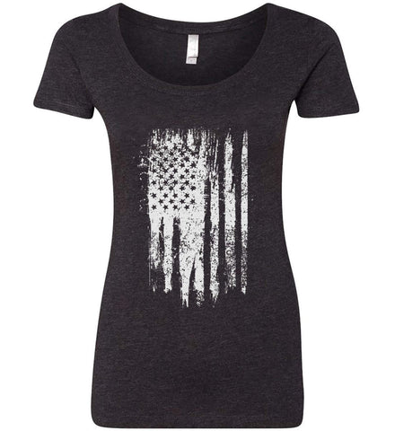 Grungy Grey USA Flag Women's: Next Level Ladies' Triblend Scoop.