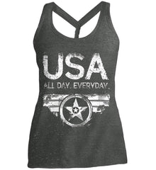 USA All Day Everyday. White Print. Women's: District Made Ladies Cosmic Twist Back Tank.