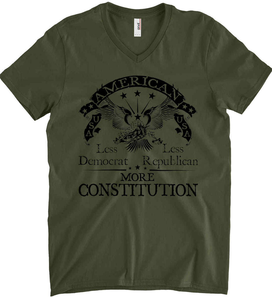America: Less Democrat - Less Republican. More Constitution. Black Print Anvil Men's Printed V-Neck T-Shirt.-3