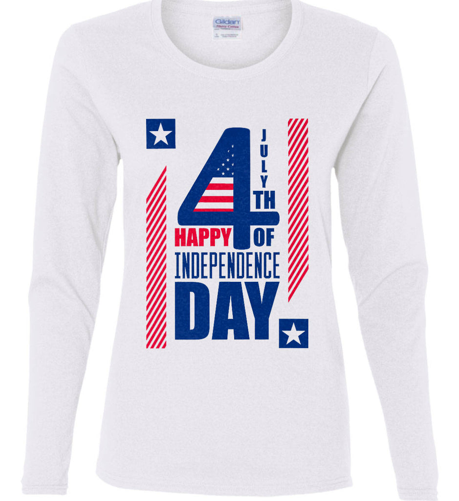 4th of July with Stars and Stripes. Women's: Gildan Ladies Cotton Long Sleeve Shirt.-1