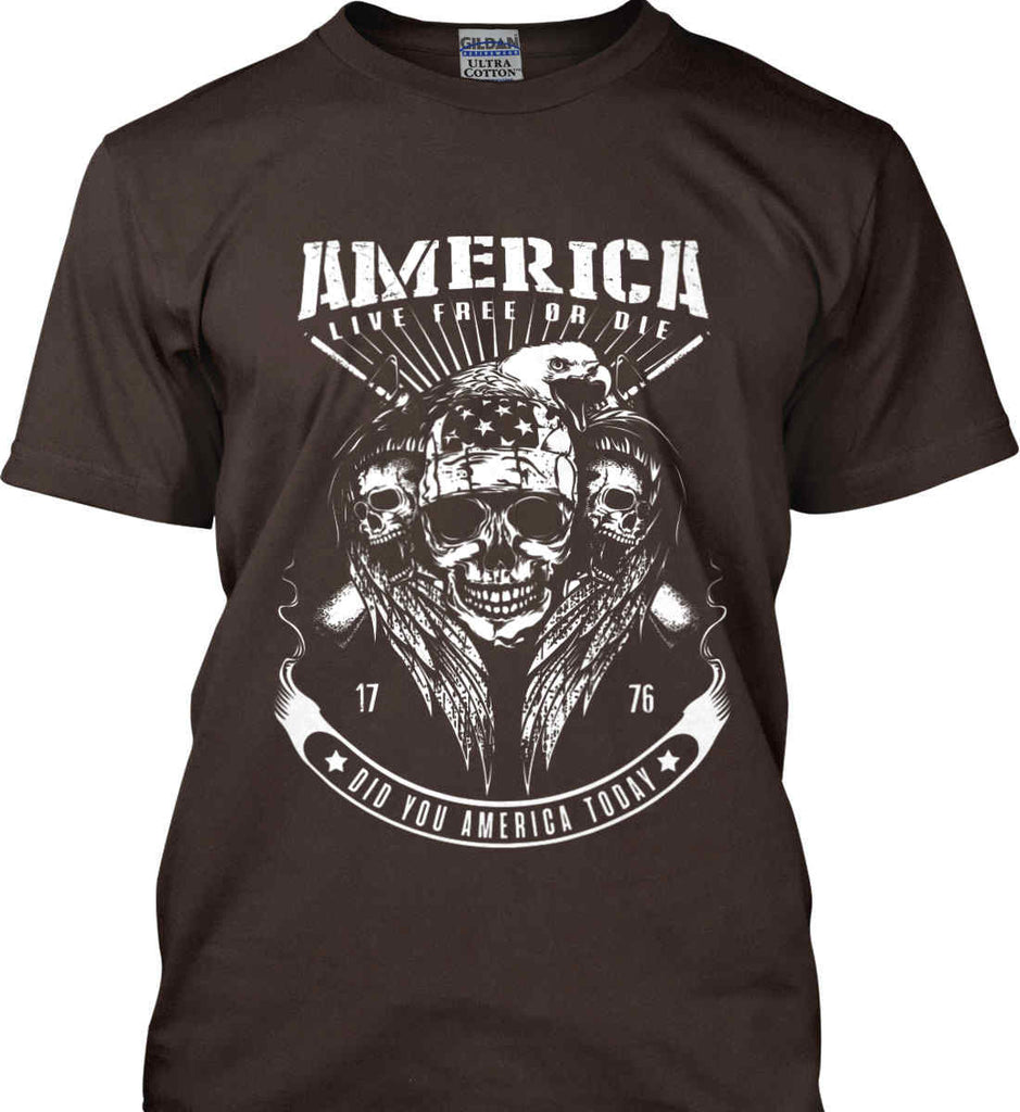 Did you America Today. 1776. Live Free or Die. Skull. White Print. Gildan Ultra Cotton T-Shirt.-4