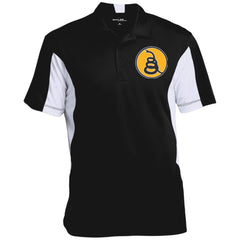 Don't Tread on Me Rattlesnake. Yellow/Black. Sport-Tek Men's Colorblock Performance Polo. (Embroidered)