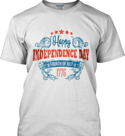 Happy Independence Day. Fourth of July. 1776. Gildan Ultra Cotton T-Shirt.