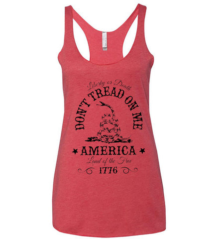 Don't Tread on Me. Liberty or Death. Land of the Free. Black Print. Women's: Next Level Ladies Ideal Racerback Tank.