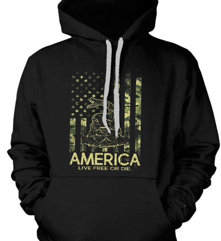America. Live Free or Die. Don't Tread on Me. Camo. Gildan Heavyweight Pullover Fleece Sweatshirt.