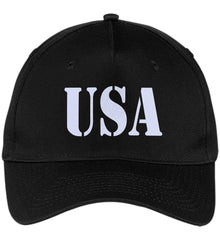 USA Patriot Hat Port & Co. Five Panel Twill Cap. (Embroidered)