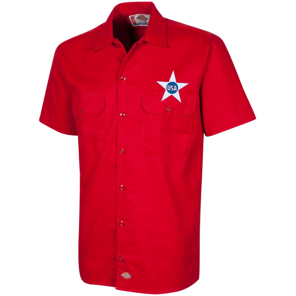 USA. Inside Star. Red, White and Blue. Dickies Men's Short Sleeve Workshirt. (Embroidered)-4