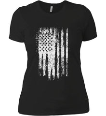 Grungy Grey USA Flag Women's: Next Level Ladies' Boyfriend (Girly) T-Shirt.