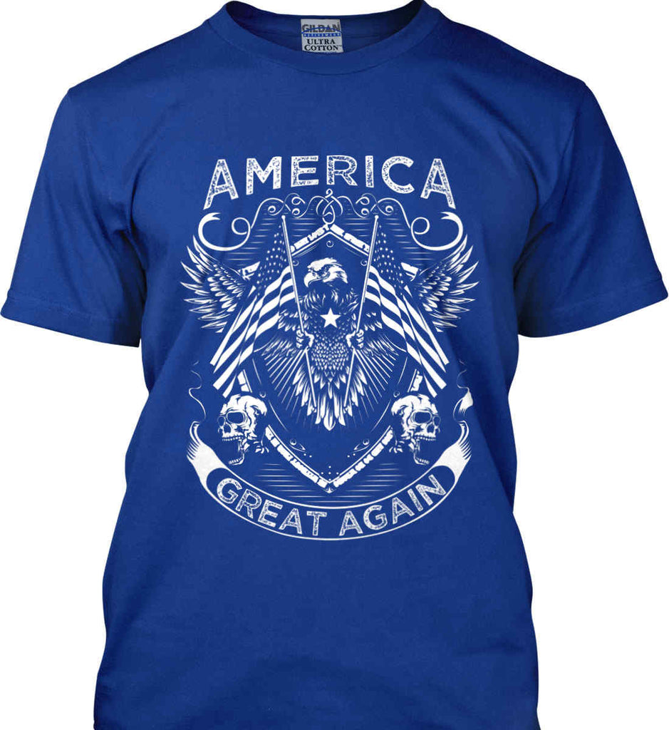 America. Great Again. White Print. Gildan Ultra Cotton T-Shirt.-8