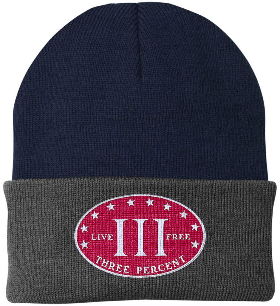Three Percenter. Live Free. Hat. Port Authority Knit Cap. (Embroidered)-12