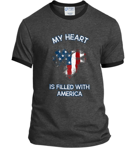My Heart Is Filled With America. Port and Company Ringer Tee.