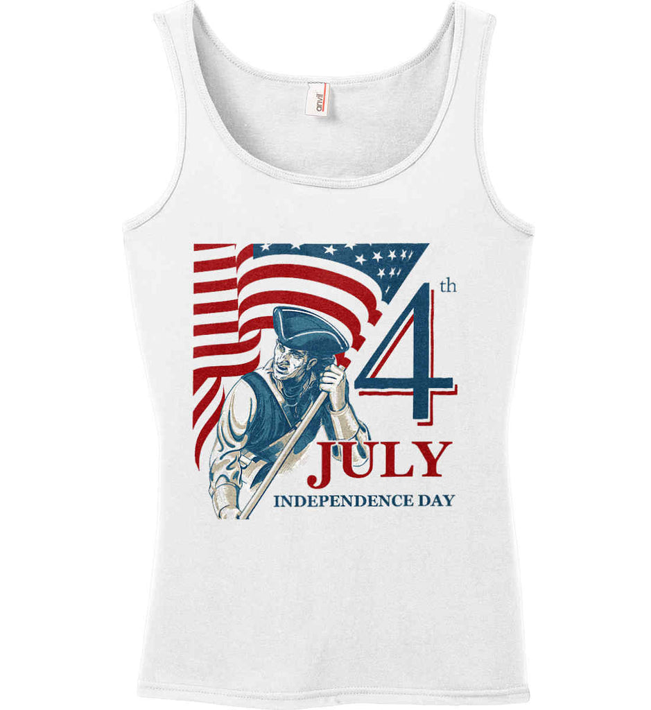 Patriot Flag. July 4th. Independence Day. Women's: Anvil Ladies' 100% Ringspun Cotton Tank Top.-1
