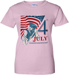 Patriot Flag. July 4th. Independence Day. Women's: Gildan Ladies' 100% Cotton T-Shirt.