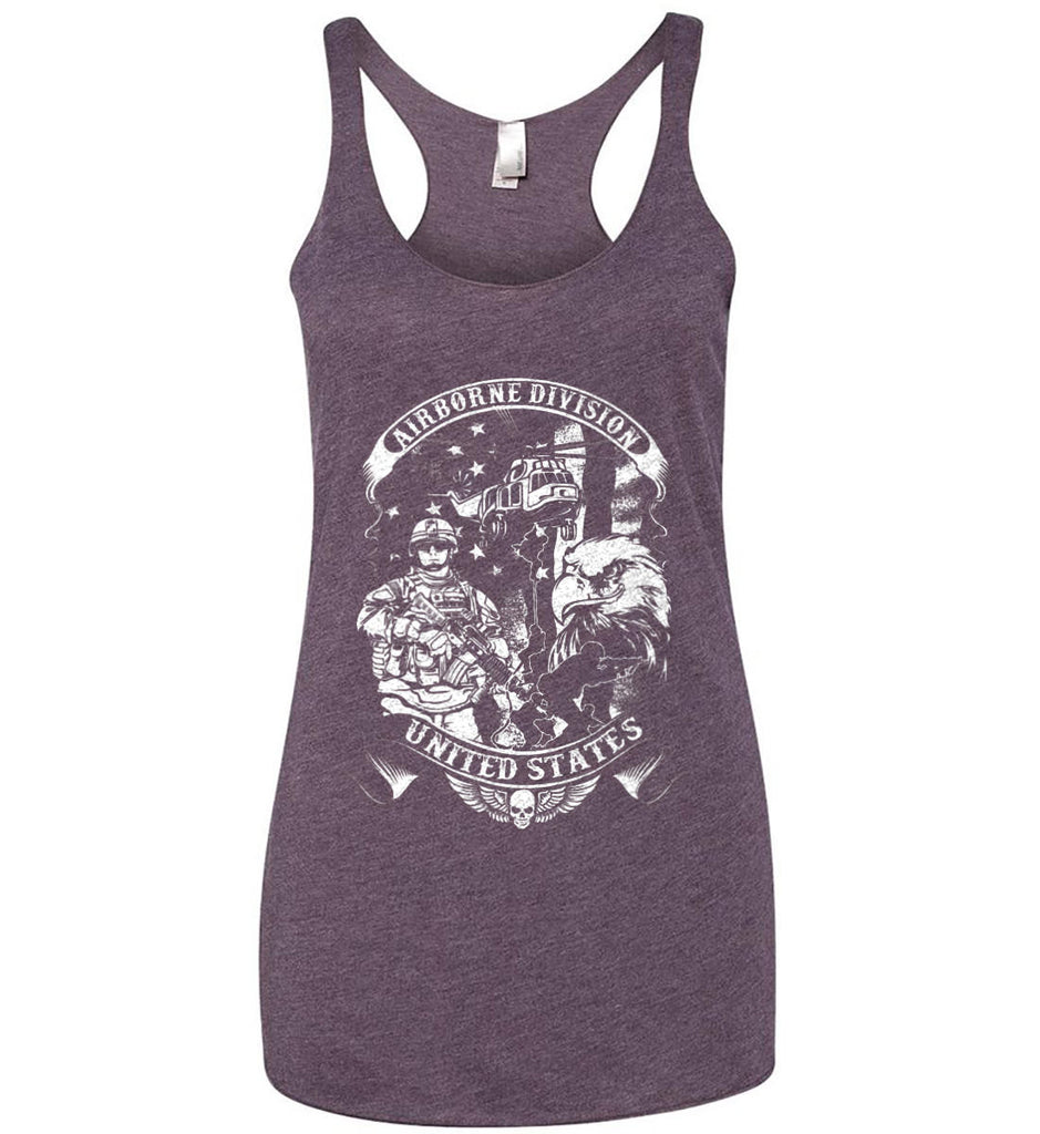 Airborne Division. United States. White Print. Women's: Next Level Ladies Ideal Racerback Tank.-10
