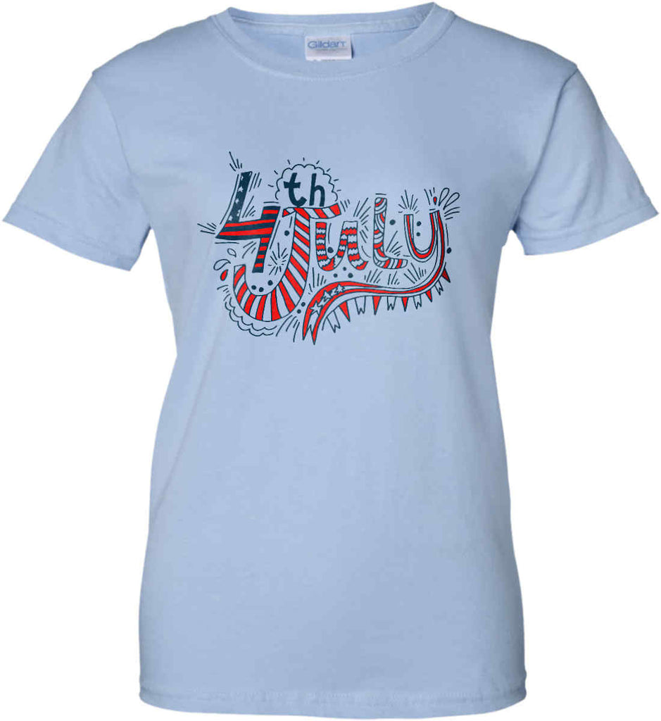 July 4th Red, White and Blue. Women's: Gildan Ladies' 100% Cotton T-Shirt.-5