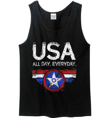 USA All Day Everyday. Gildan 100% Cotton Tank Top.