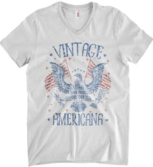 Vintage Americana Faded Grunge Anvil Men's Printed V-Neck T-Shirt.