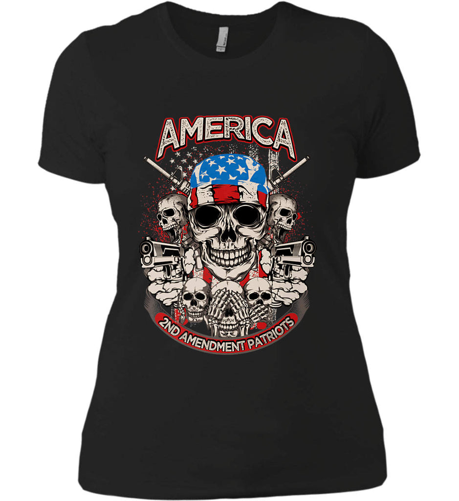 America. 2nd Amendment Patriots. Women's: Next Level Ladies' Boyfriend (Girly) T-Shirt.-1