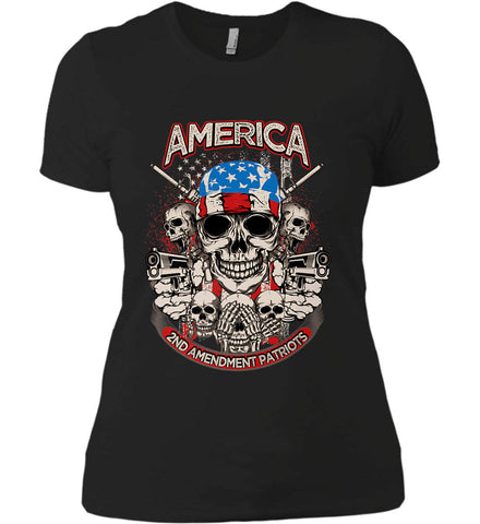 America. 2nd Amendment Patriots. Women's: Next Level Ladies' Boyfriend (Girly) T-Shirt.
