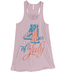 4th of July. Faded Grunge. Women's: Bella + Canvas Flowy Racerback Tank.