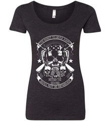 The Right to Bear Arms. Shall Not Be Infringed. Since 1791. White Print. Women's: Next Level Ladies' Triblend Scoop.