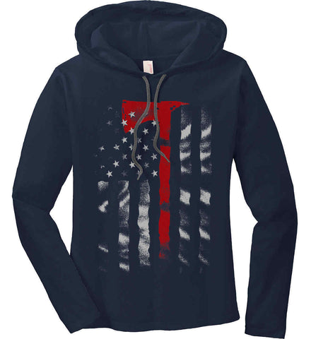 Thin Red Line. Firefighter Ax. Women's: Anvil Ladies' Long Sleeve T-Shirt Hoodie.