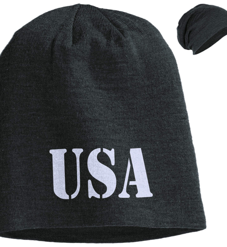 USA Patriot Hat District Slouch Beanie. (Embroidered)-1