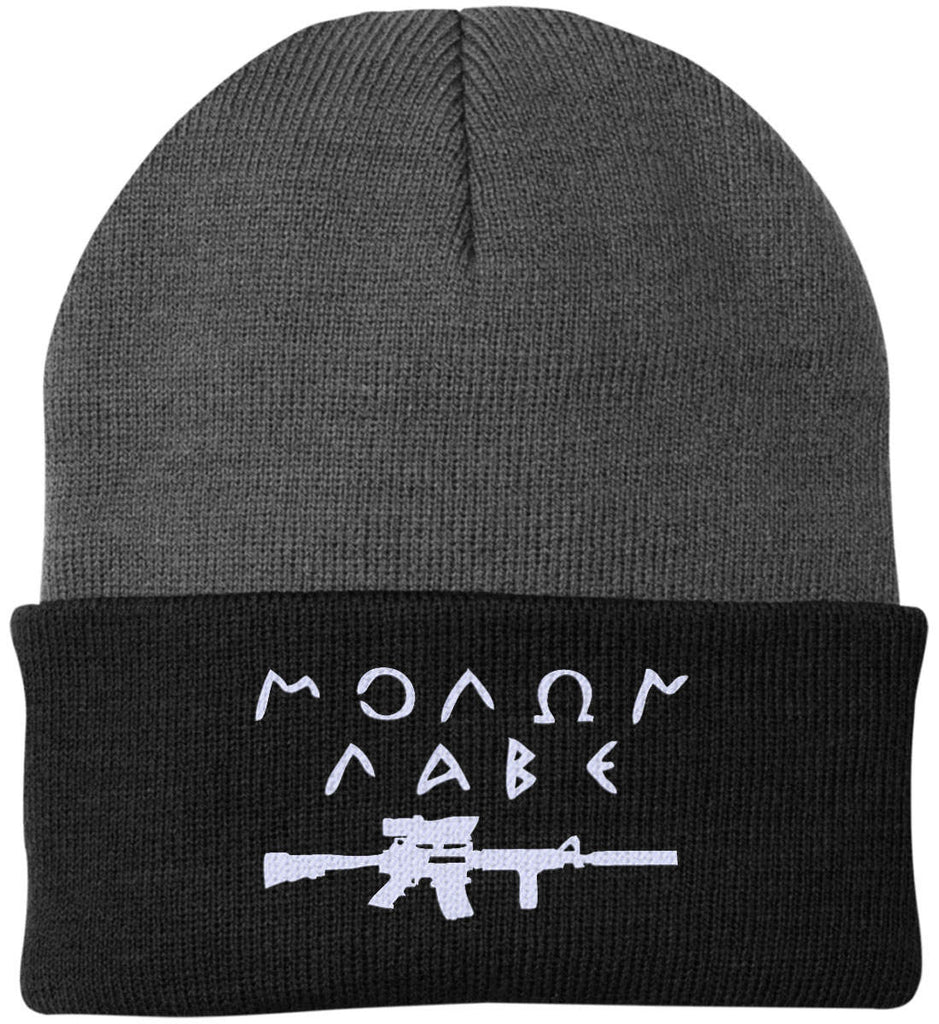 Molon Labe Rifle Hat. Port Authority Knit Cap. (Embroidered)-12