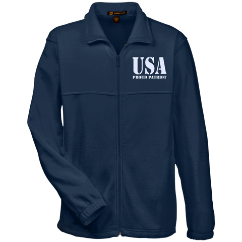 USA. Proud Patriot. Harriton Fleece Full-Zip. (Embroidered)