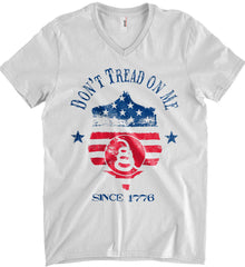 Don't Tread on Me. Snake on Shield. Red, White and Blue. Anvil Men's Printed V-Neck T-Shirt.