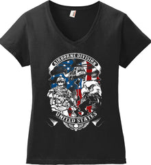 Airborne Division. United States. Women's: Anvil Ladies' V-Neck T-Shirt.