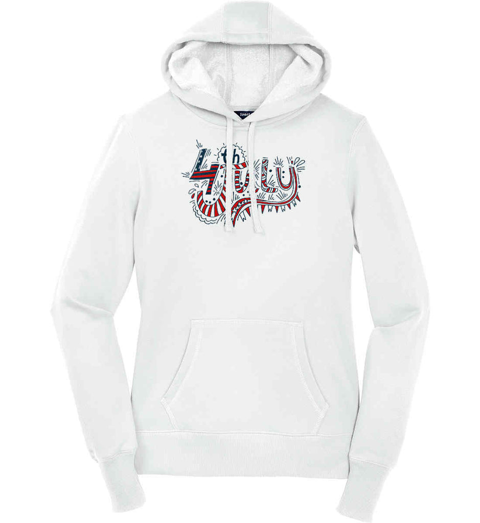 July 4th Red, White and Blue. Women's: Sport-Tek Ladies Pullover Hooded Sweatshirt.-1