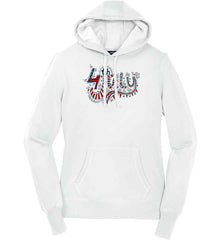 July 4th Red, White and Blue. Women's: Sport-Tek Ladies Pullover Hooded Sweatshirt.
