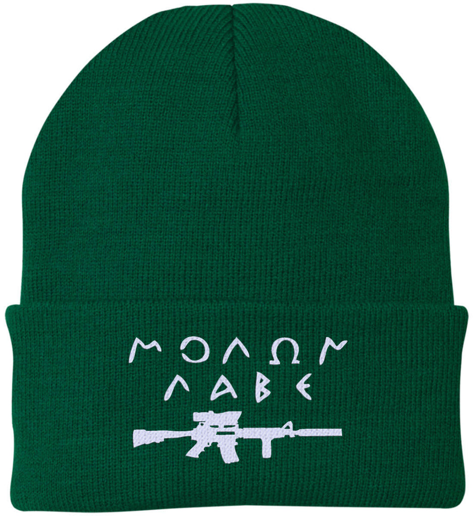 Molon Labe Rifle Hat. Port Authority Knit Cap. (Embroidered)-3
