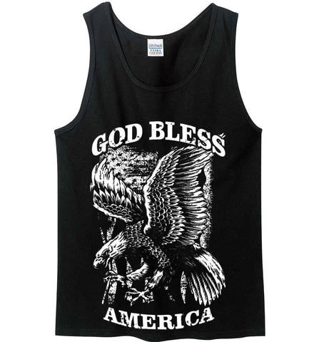 God Bless America. Eagle on Flag. White Print. Gildan 100% Cotton Tank Top.