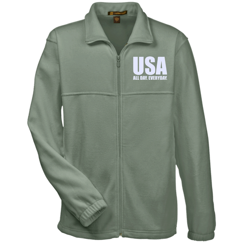 USA. All Day. Everyday. White Text. Harriton Fleece Full-Zip. (Embroidered)
