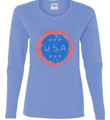 Grungy USA. Women's: Gildan Ladies Cotton Long Sleeve Shirt.