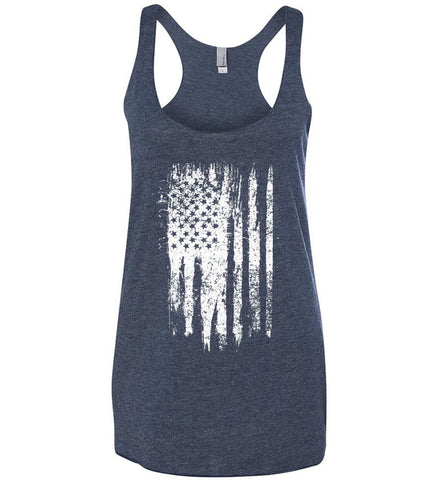 Grungy Grey USA Flag Women's: Next Level Ladies Ideal Racerback Tank.