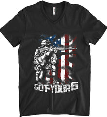 Got Your Six. Soldier Flag. Anvil Men's Printed V-Neck T-Shirt.
