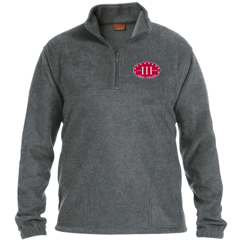 Three Percent. Live Free. Red with White Text. Harriton 1/4 Zip Fleece Pullover. (Embroidered)
