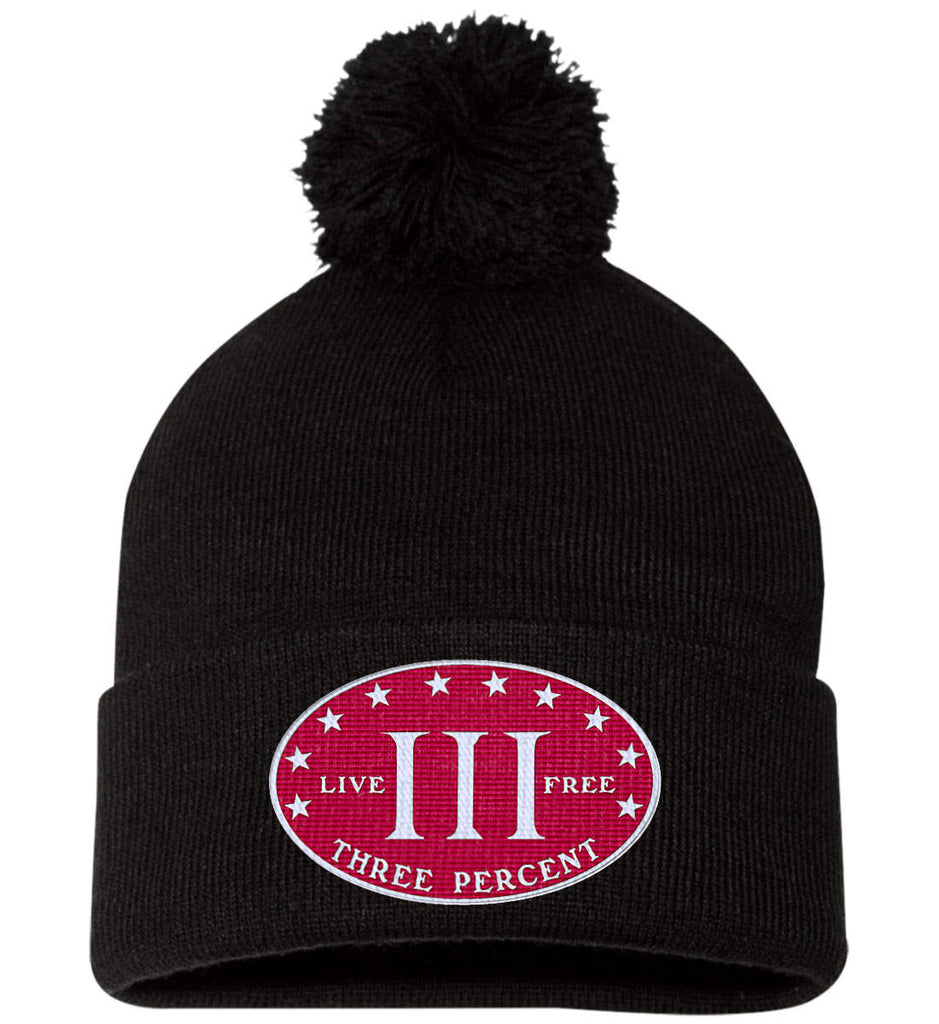 Three Percenter. Live Free. Hat. Sportsman Pom Pom Knit Cap. (Embroidered)-1