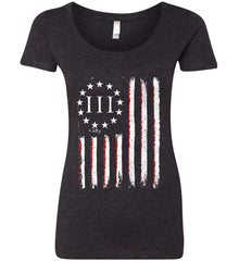 Three Percent on American Flag. Women's: Next Level Ladies' Triblend Scoop.