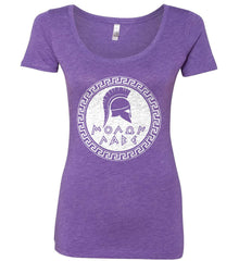 Molon Labe. Spartan Helmet. White Print. Women's: Next Level Ladies' Triblend Scoop.