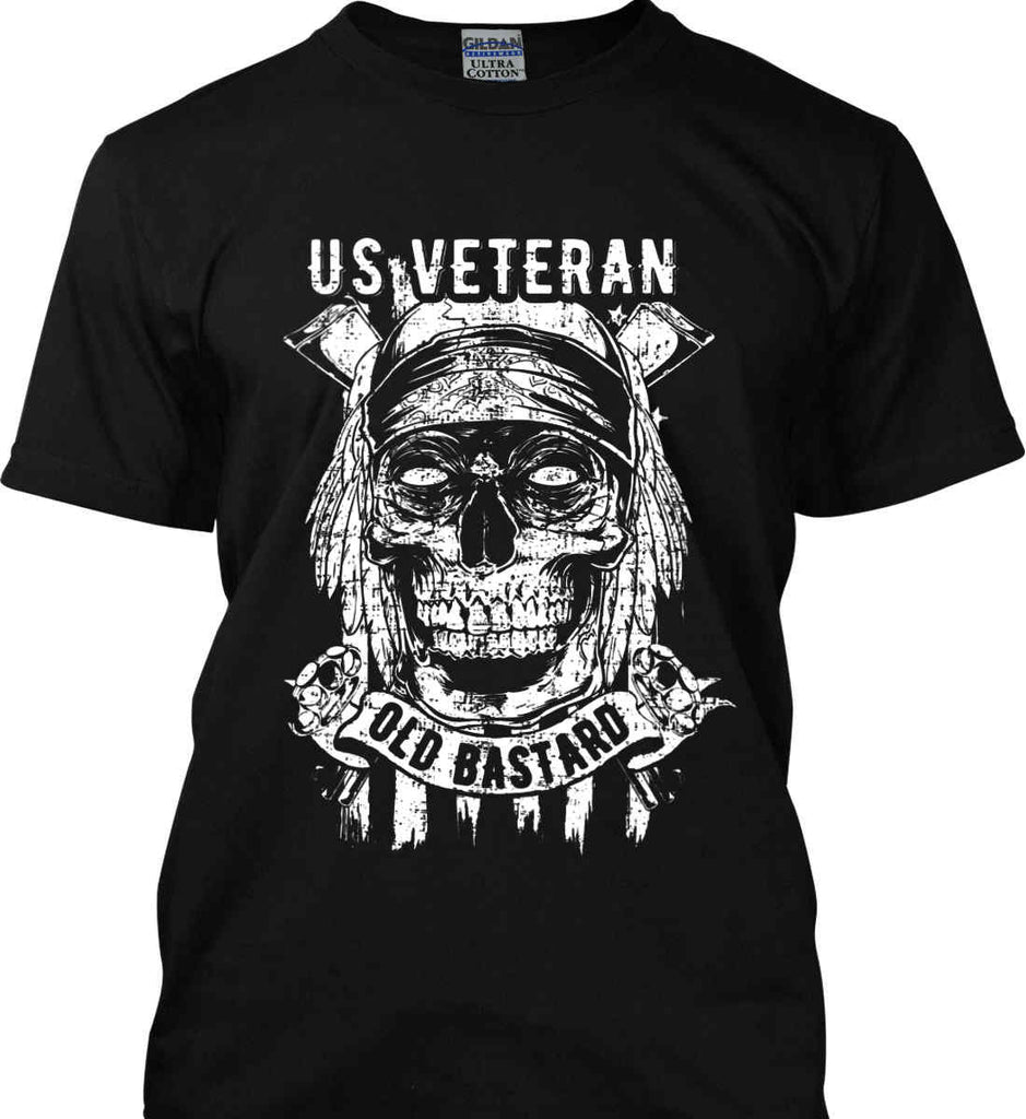 US Veteran. Skull on Flag. White Print. Gildan Ultra Cotton T-Shirt.-1