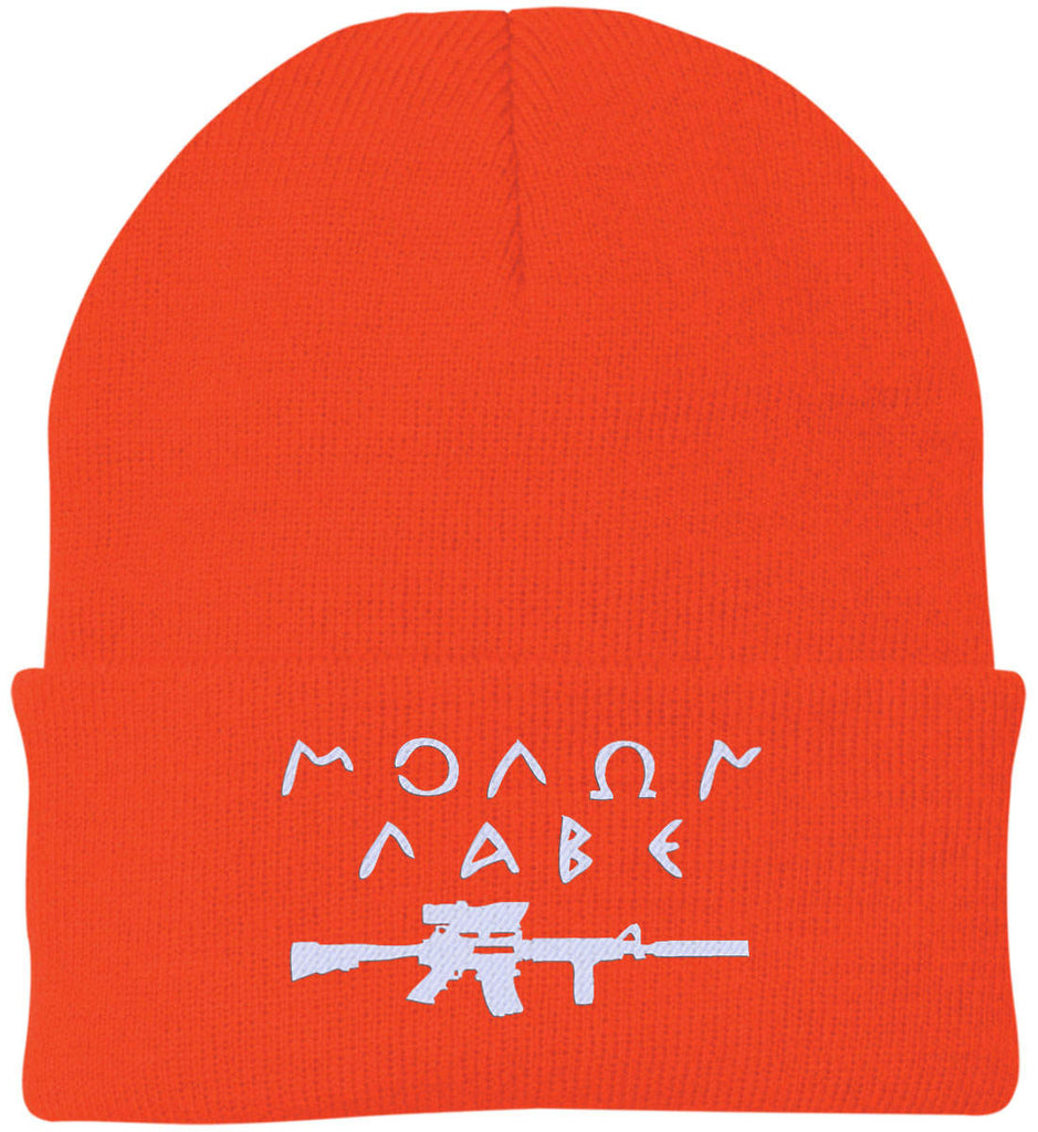 Molon Labe Rifle Hat. Port Authority Knit Cap. (Embroidered)-6