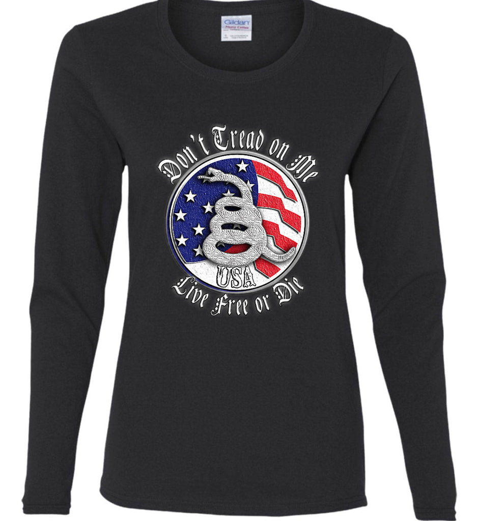 Don't Tread on Me: Red, White and Blue. Live Free or Die. Women's: Gildan Ladies Cotton Long Sleeve Shirt.-1