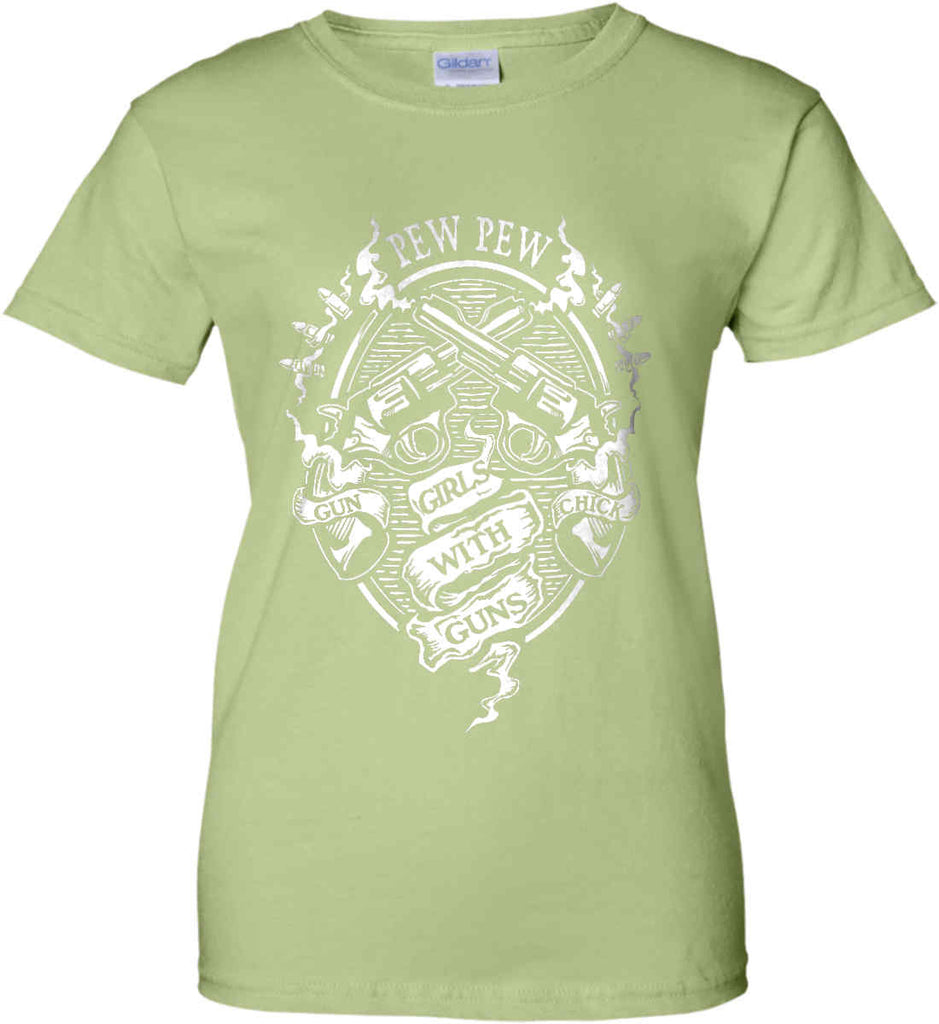 Pew Pew. Girls with Guns. Gun Chick. Women's: Gildan Ladies' 100% Cotton T-Shirt.-13
