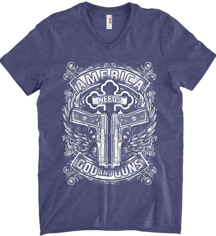America Needs God and Guns. White Print. Anvil Men's Printed V-Neck T-Shirt.