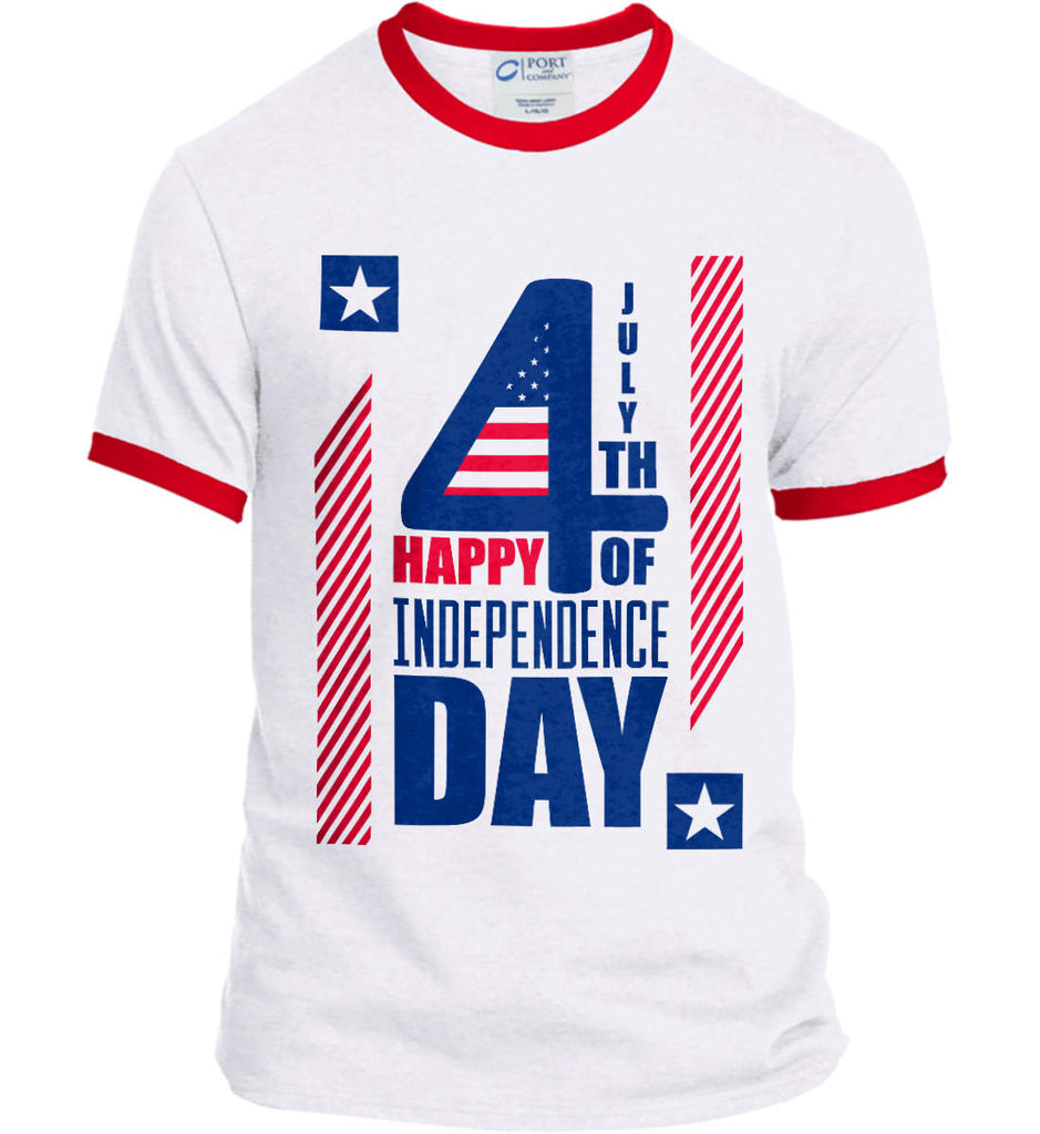 4th of July with Stars and Stripes. Port and Company Ringer Tee.-1